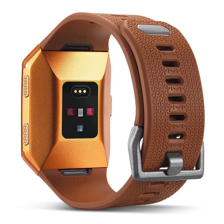 For Fitbit Ionic帯、Marval電源ソフトTPU交換Fitness Accessoryスポーツリストバンドfor Fitbit Ionicスマートウォッチメンズレディースストラップ、Large Small Small ブラウン B0762LMYJ2
