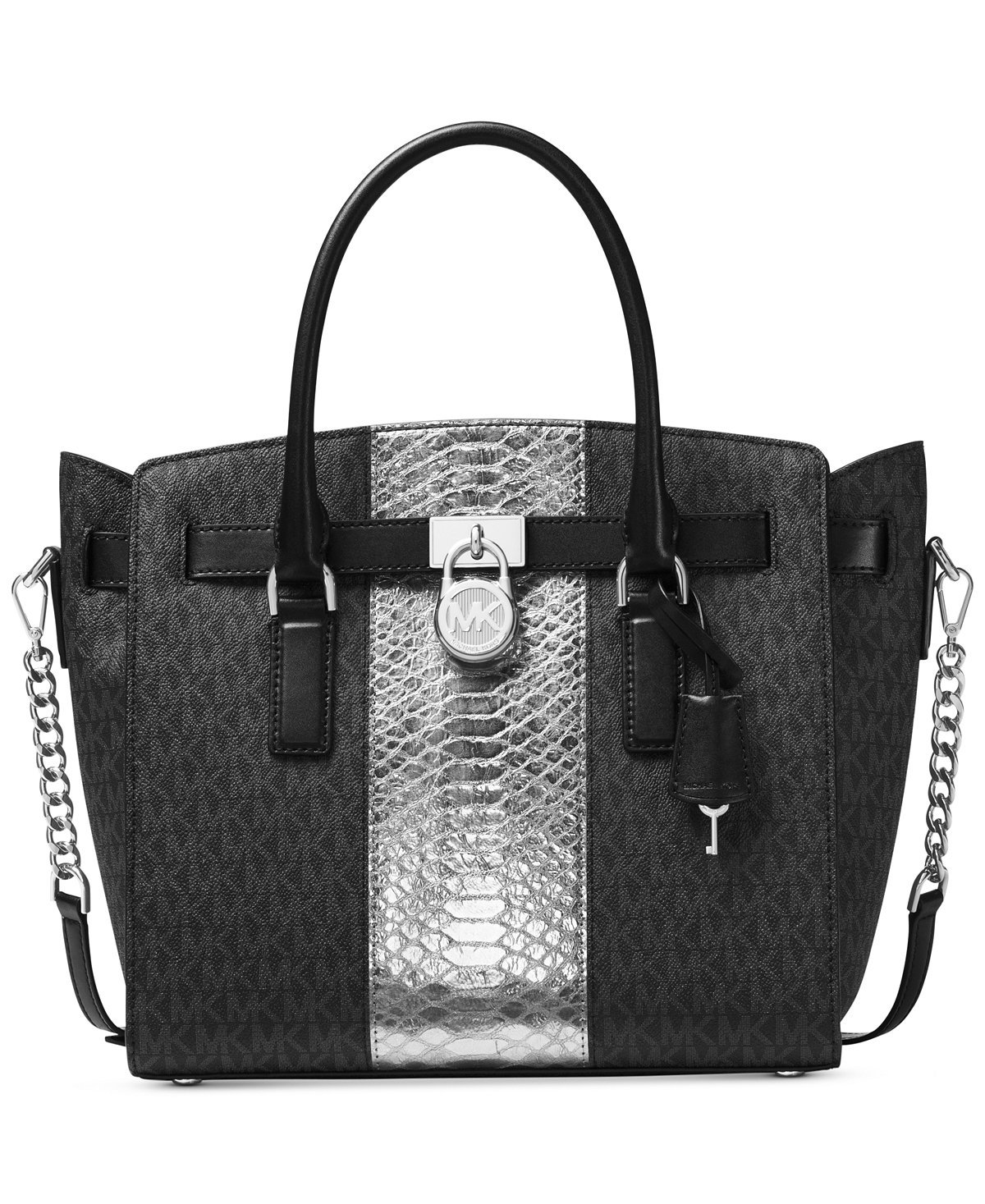 MICHAEL Michael Kors Hamilton Embossed-Leather and Logo Satchel, Color Black by Michael Kors