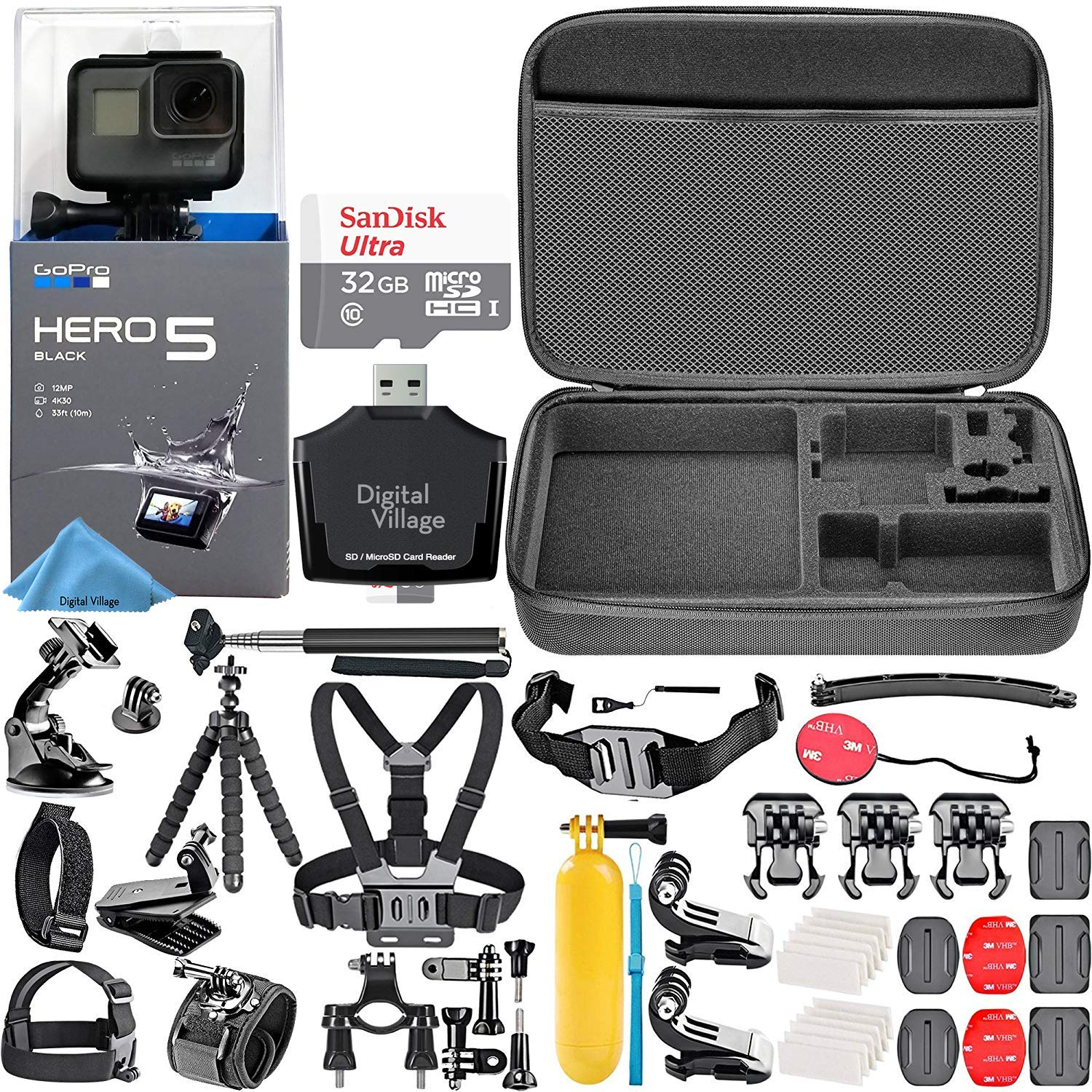 GoPro HERO5 Black + 32GB Memory Card + Hard Case + Card Reader + Chest Strap Mount + Head Strap Mount + Flexible Tripod + Extendable Monopod + Floating Handle + Hero 5 Best Value Bundle by Digital Village