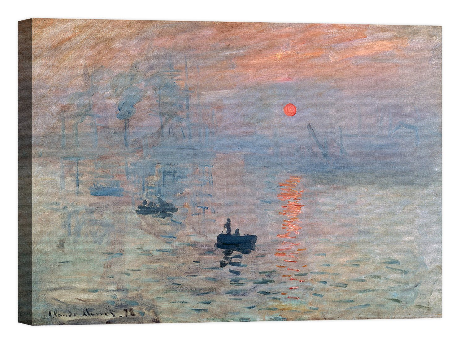 LuxHomeDecor Rahmen Druck auf Leinwand mit Rahmen in Holz Claude Monet Impression Au Soleil Levant 100x75 CM