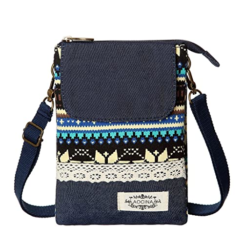 20394545ec Cell Phone Purse Wallet Canvas National Style Women Small Crossbody Purse  Bags(Blue)