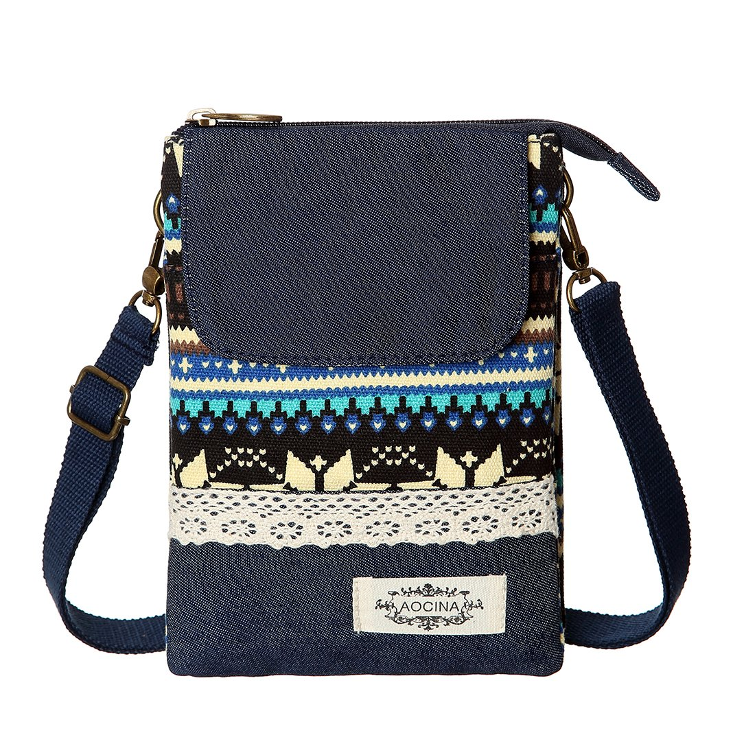 Cell Phone Purse Wallet Canvas National Style Women Small Crossbody Purse Bags(Blue)