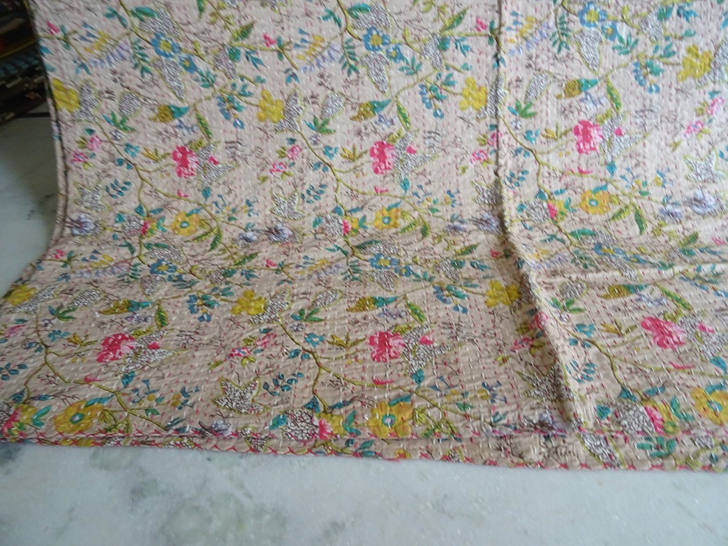 Indian Multicolor Paisley PARADISE Print King Size Kantha Quilt , Kantha Blanket, Bed Cover, King Kantha bedspread, Bohemian Bedding Kantha (Begie) by Sophia Art (Image #4)