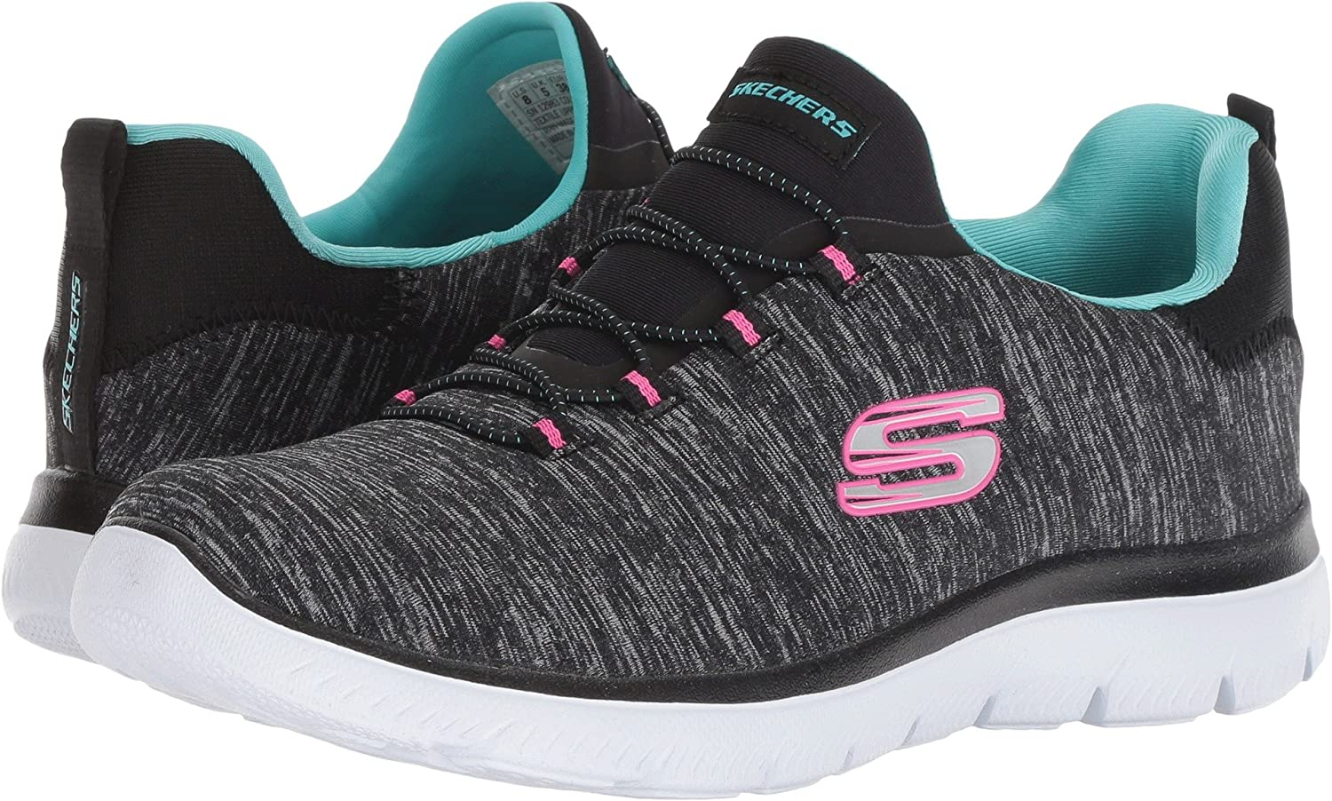 Skechers Women's Summits Sneaker B07BKLXNCC 10 M US|Black/Light Blue