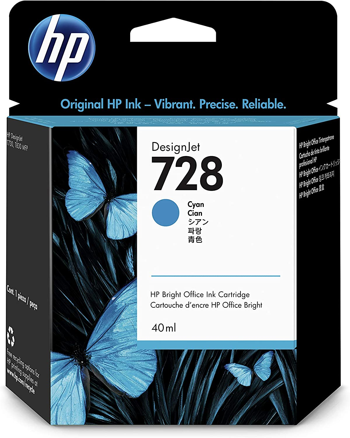 HP 728 Cyan 40-ml Genuine Ink Cartridge (F9J63A) for DesignJet T830 MFP & T730 Large Format Plotter Printers