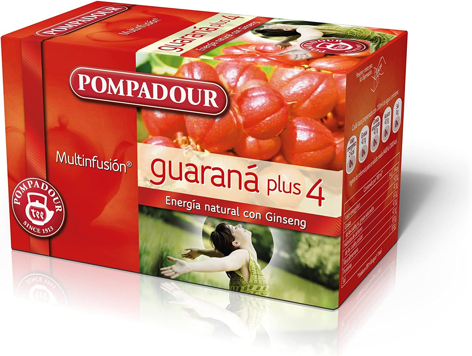Pompadour Té Infusion Guaraná Plus 4 - Pack de 5 (Total: 100 ...
