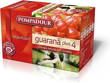 Pompadour Té Infusion Guaraná Plus 4 - Pack de 5 (Total: 100 ...
