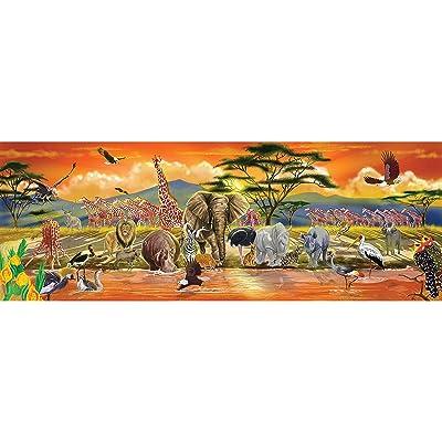 Melissa & Doug 12873 African Plains Safari Jumbo Jigsaw Floor Puzzle (100 pcs, Over 1 Meter Long): Toys & Games