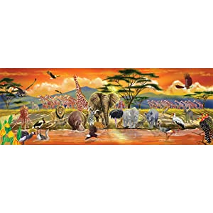 Melissa & Doug African Plains Safari Jumbo Jigsaw Floor Puzzle (Preschool, 100 Pieces, Over 4 Feet Long, Great Gift for Girls and Boys - Best for 3, 4, and 5 Year Olds)