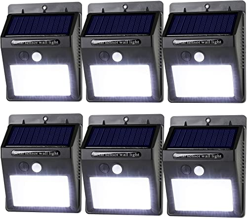 LeadTop Solar Motion Sensor Light 20 LED Solar Powered Wireless Weatherproof Security Wall Lights for Outdoor Yard Garden Driveway Pathway Pool 6 Pack