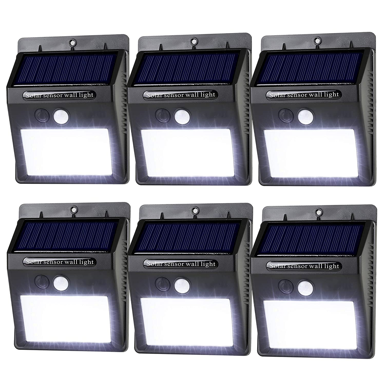 LeadTop Solar Motion Sensor Light 20 LED Solar Powered Wireless Weatherproof Security Wall Lights for Outdoor Yard Garden Driveway Pathway Pool 6-Pack