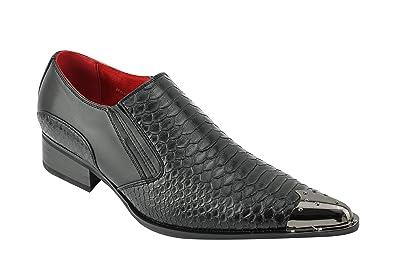 e2bedbe01ba Rossellini Mens Leather Line Pointed Metal Toe Winklepicker Snakeskin Effect  Black Loafers Shoes  Black
