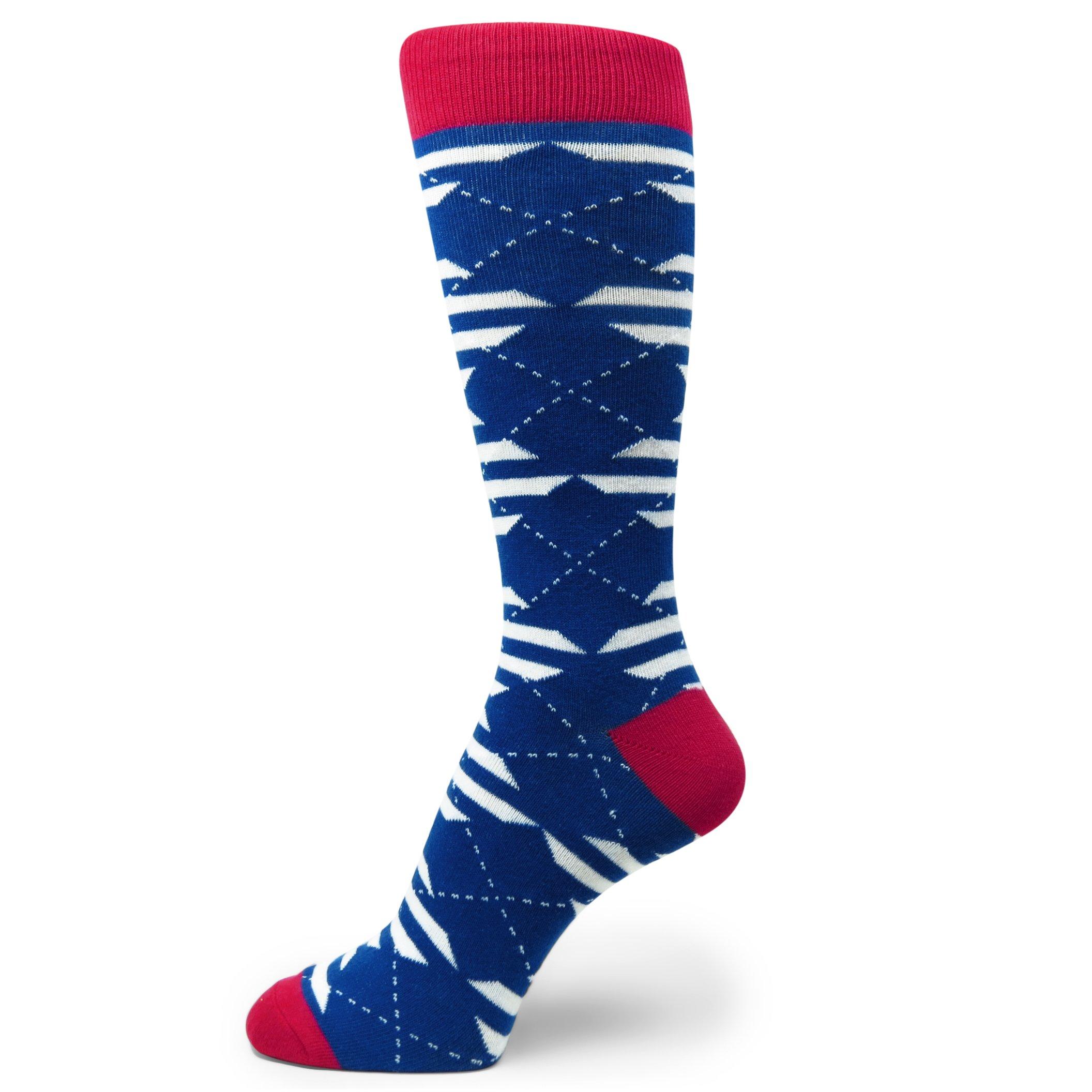 Spotlight Hosiery Men's Groomsmen Wedding Argyle Dress Socks-Royal Blue/White/Red