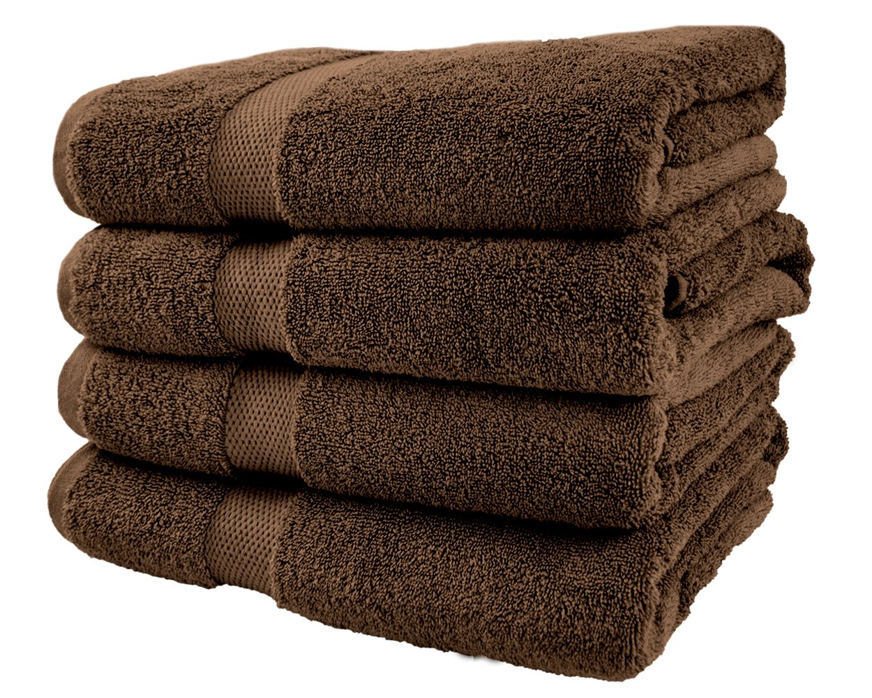 Cotton & Calm Exquisitely Plush and Soft Bath Towel Set, Chocolate/Dark Brown - 4 Large Bath Towels Set - Spa Resort and Hotel Quality, Super Absorbent 100% Cotton Luxury Bathroom Towels