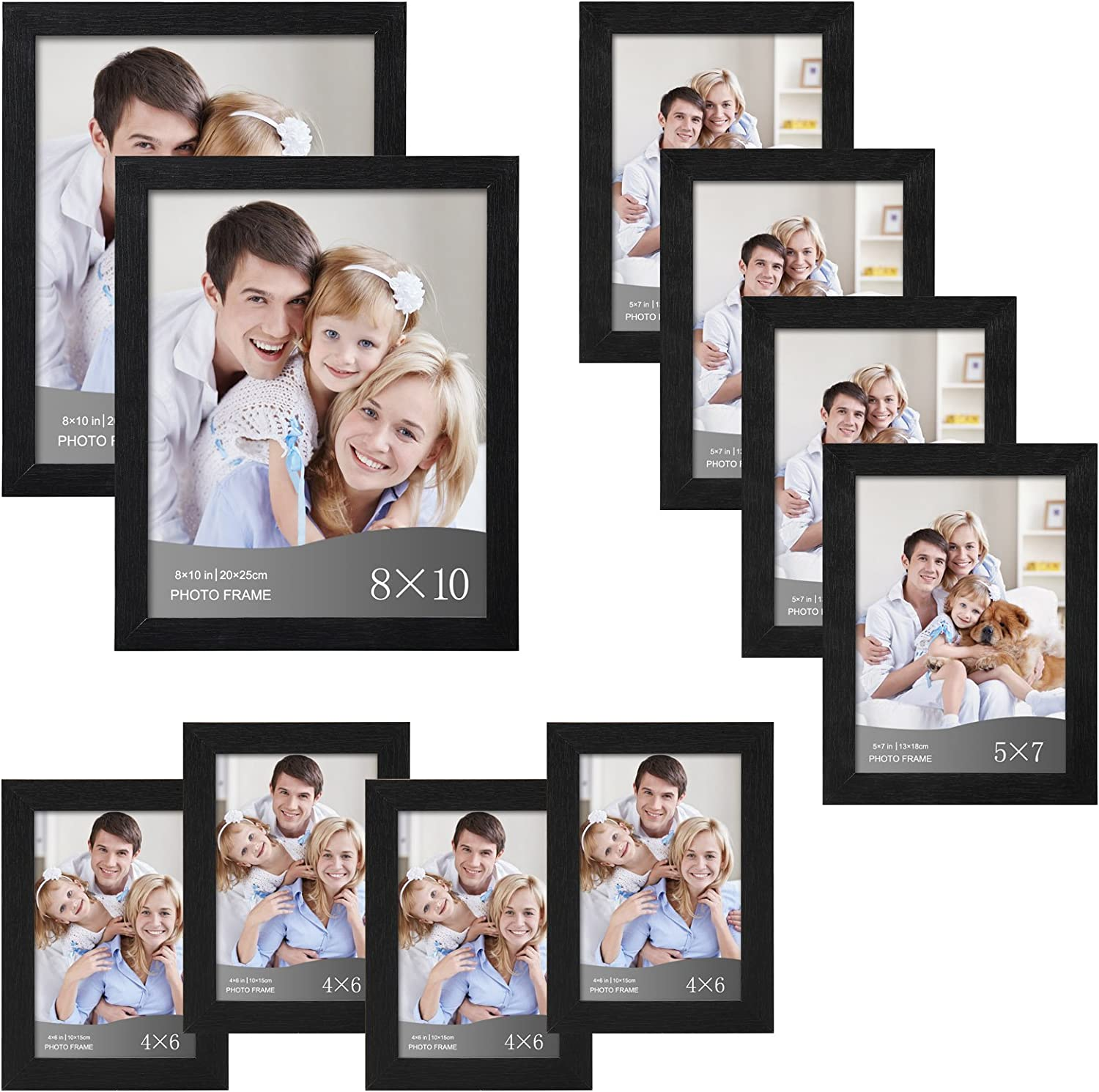 WOLTU 10 Piece Multi Pack Black Picture Frame Set for Wall with Plexiglass Cover,2-8x10,4-5x7,4-4x6,PF02C10-x