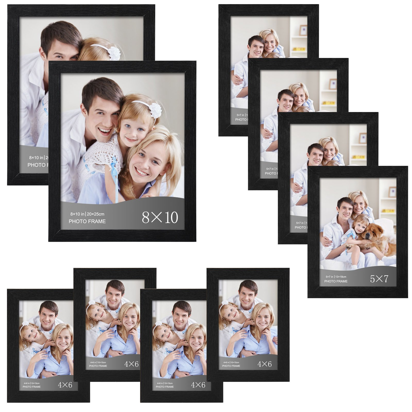 WOLTU 10 Piece Multi Pack Black Picture Frame Set for Wall with Plexiglass Cover,2-8x10,4-5x7,4-4x6,PF02C10-x by WOLTU