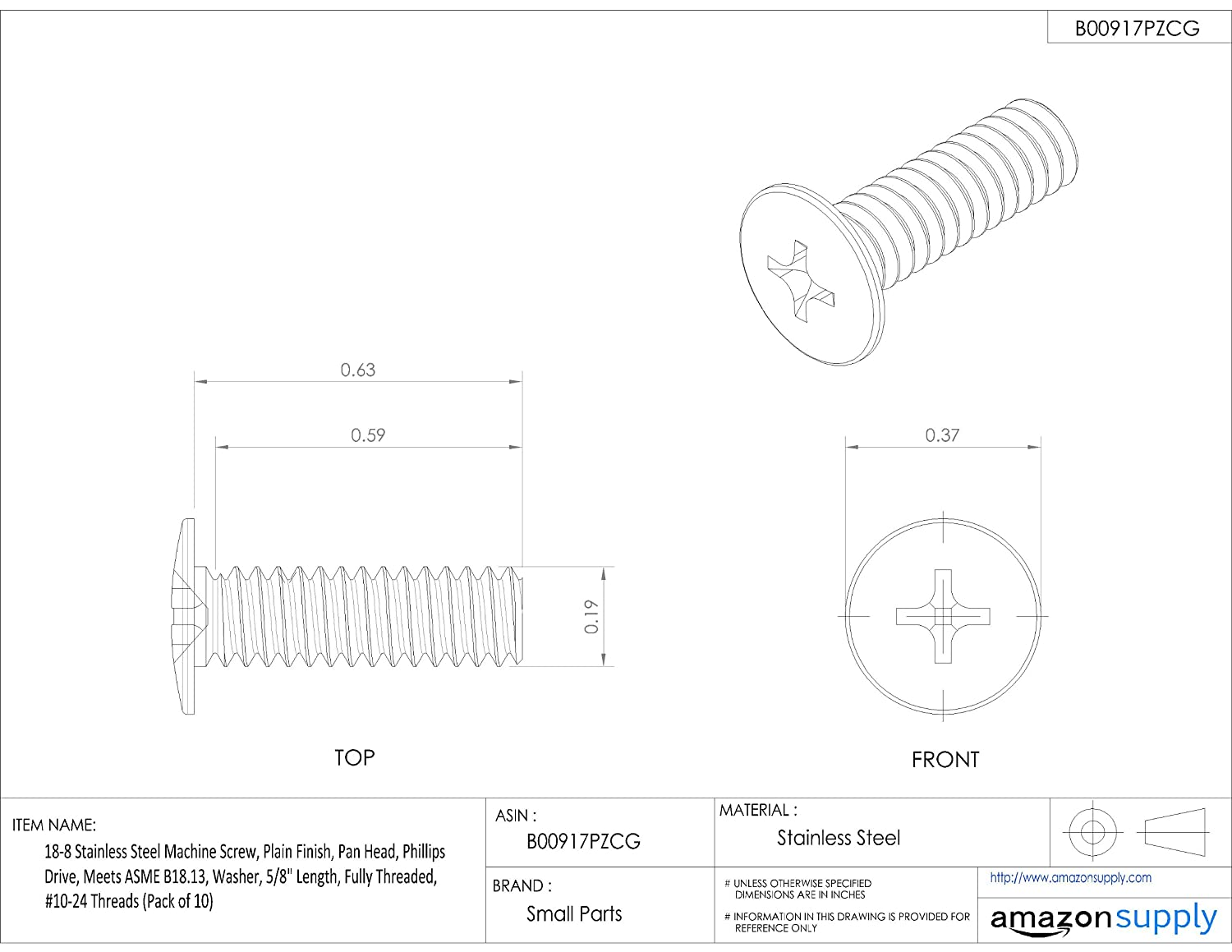 Phillips Drive 18-8 Stainless Steel Machine Screw Meets ASME B18.13 Fully Threaded External-Tooth Lock Washer Pan Head 5//8 Length #10-24 UNC Threads Plain Finish Pack of 10