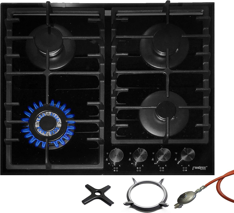 Phönix PG-603T - Cocina de gas (cristal, 4 fuegos, propano y gas natural, incluye accesorio para wok de fundición)