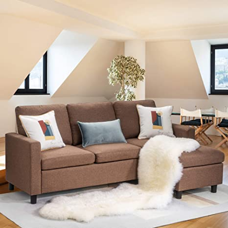 Sensational Walsunny Convertible Sectional Sofa Couch With Reversible Chaise L Shaped Upholstered Couch With Modern Linen Fabric For Small Space Coffee Brown Lamtechconsult Wood Chair Design Ideas Lamtechconsultcom