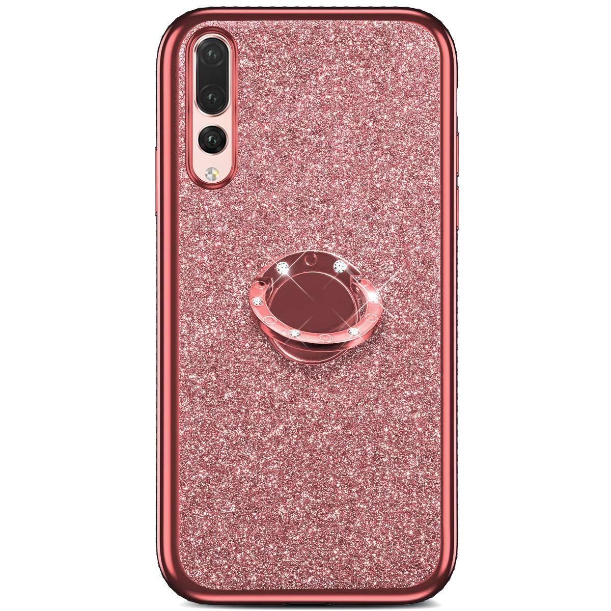 Ukayfe Custodia Compatibile con Huawei P20 PRO Glitter Brillantini Strass Silicone Cover Tondo Supporto Bling Diamante Brillante Cristallo Ultra Sottile Morbida TPU Protettiva Bumper Case-doro