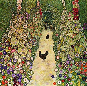 Berkin Arts Gustav Klimt Giclee Canvas Print Paintings Poster Reproduction(Garden Path with Chickens)