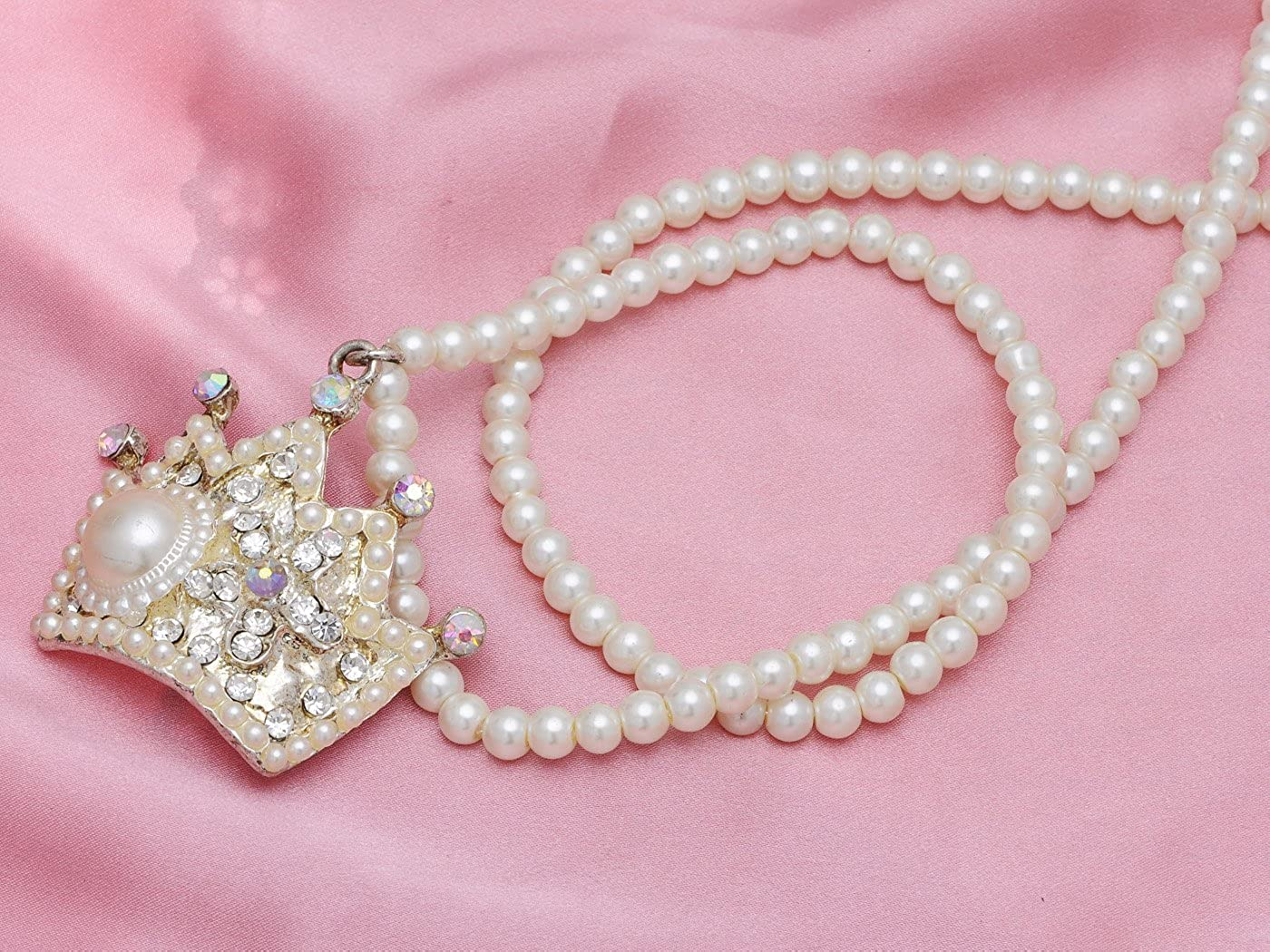 Alilang Faux Pearl Bead Strand Byzantine Royal King Crown Rhinestone Pendant Necklace