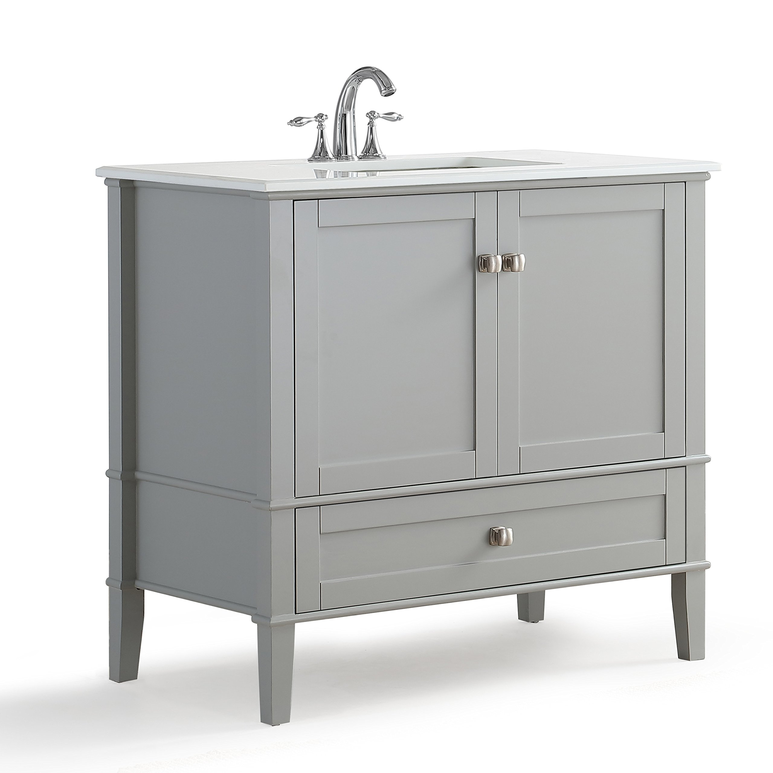 Simpli Home Chelsea 36 inch Bath Vanity with White Quartz Marble Top, Grey