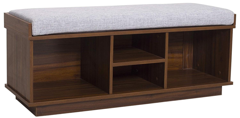 "Ravenna Home Reeder Upholstered Entryway Cushioned Storage Bench, 47.2""W, Espresso"