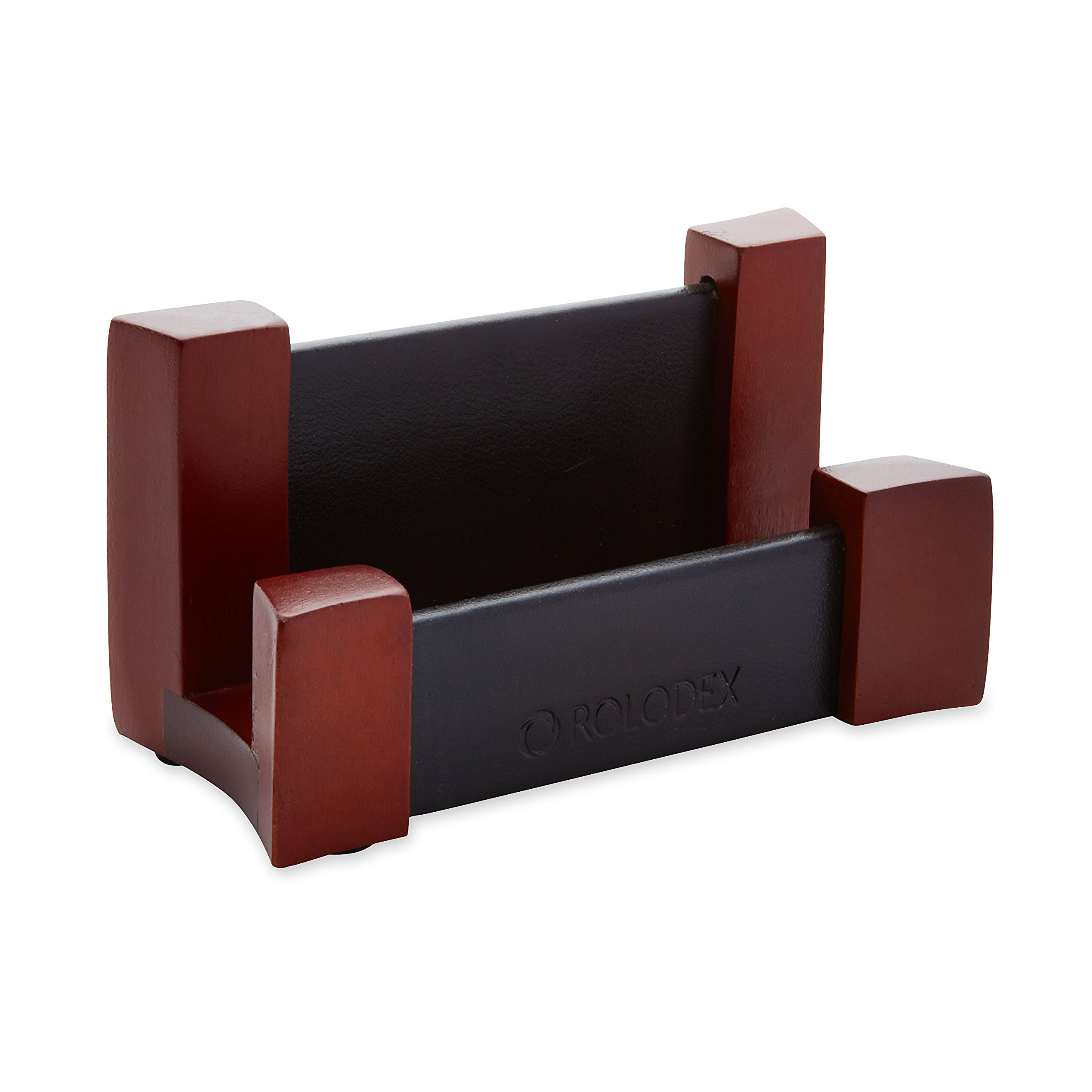 Rolodex Wood and Faux Leather Business Card Holder, Mahogany and Black (81766)