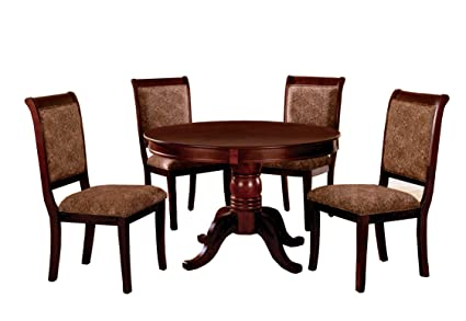 Round Wood Kitchen Table Sets Amazon furniture of america bernette 5 piece round dining furniture of america bernette 5 piece round dining table set antique cherry finish workwithnaturefo