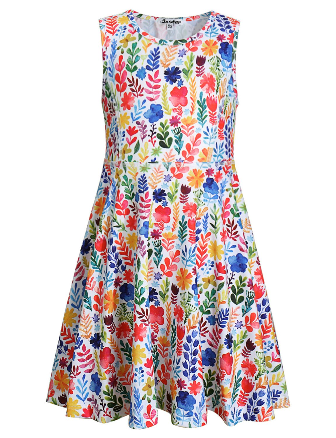 Jxstar Girl Casual Dress Flower Summer Floral Printed Sleeveless Holiday Little by Jxstar (Image #1)