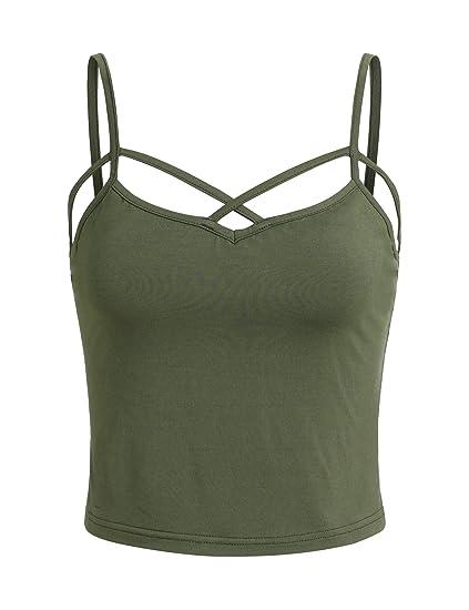 d42f3b27853 SweatyRocks Women s Spaghetti Strap Crop Top Criss Cross Camisole Tank Tops  (X-Small