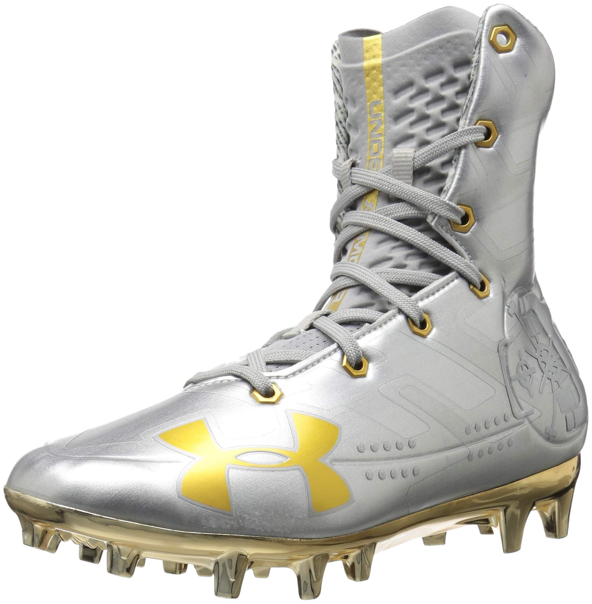 Under Armour Men's Highlight MC-Limited Edition Football Shoe, Silver (100)/Metallic Gold, 8