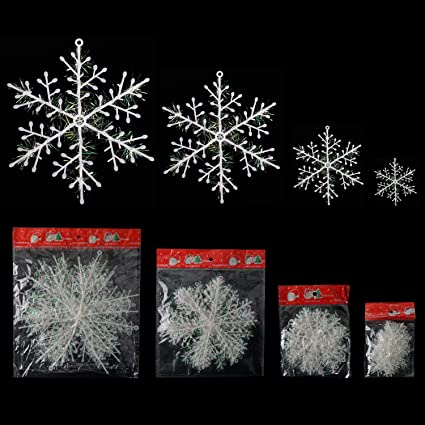 Bilipala Winter White Snowflakes Decorations Ornaments Snowflake Party Supplies 30 Counts