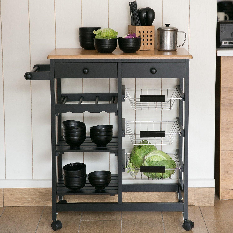 Merax WF036471BAA 26'' Portable Storage Island Kitchen Trolley Drawers, Microwave Cart, Black by Merax (Image #3)