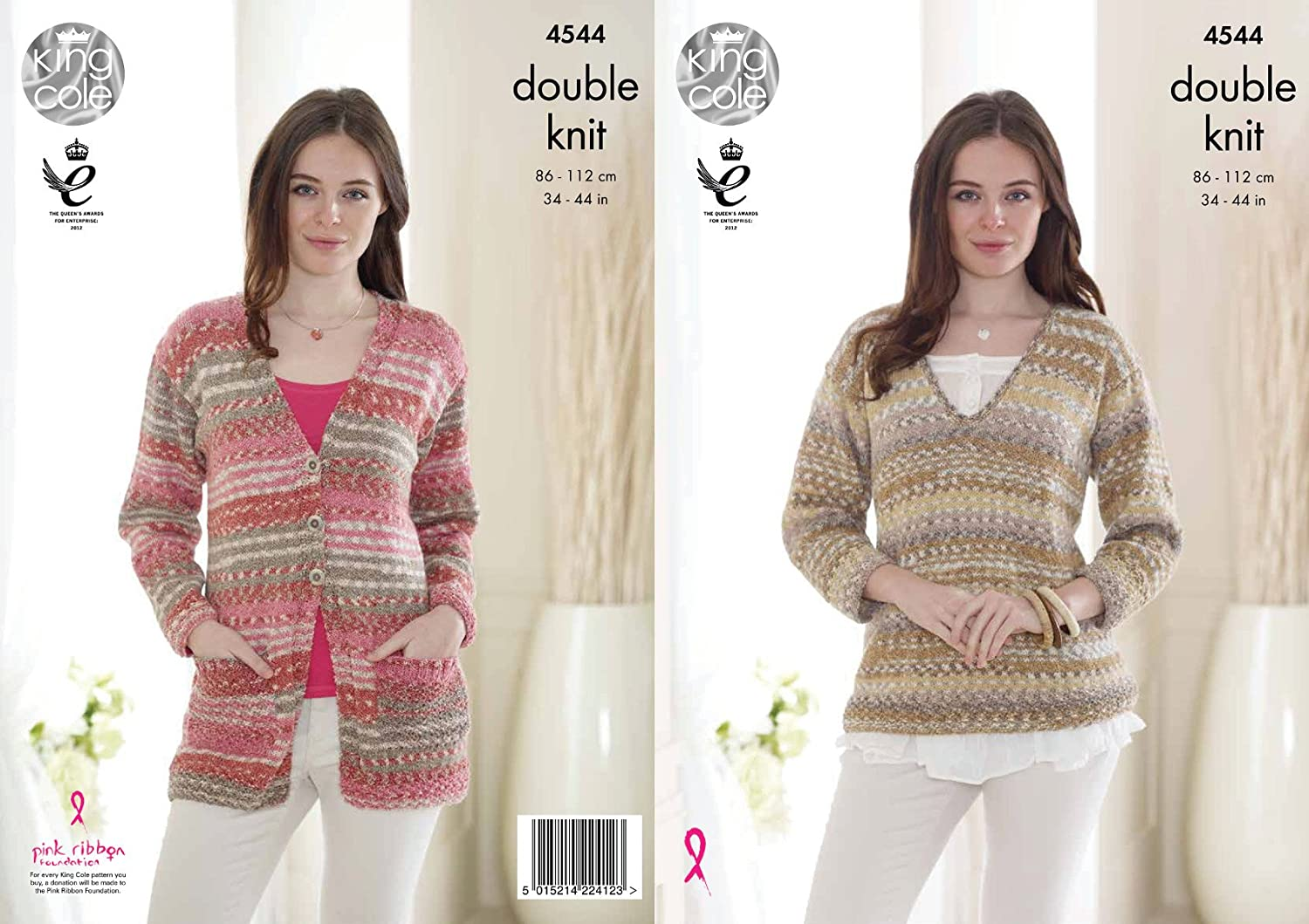 King Cole Womens Double Knitting Pattern Ladies V Neck Cardigan & Sweater Drifter DK (4544)