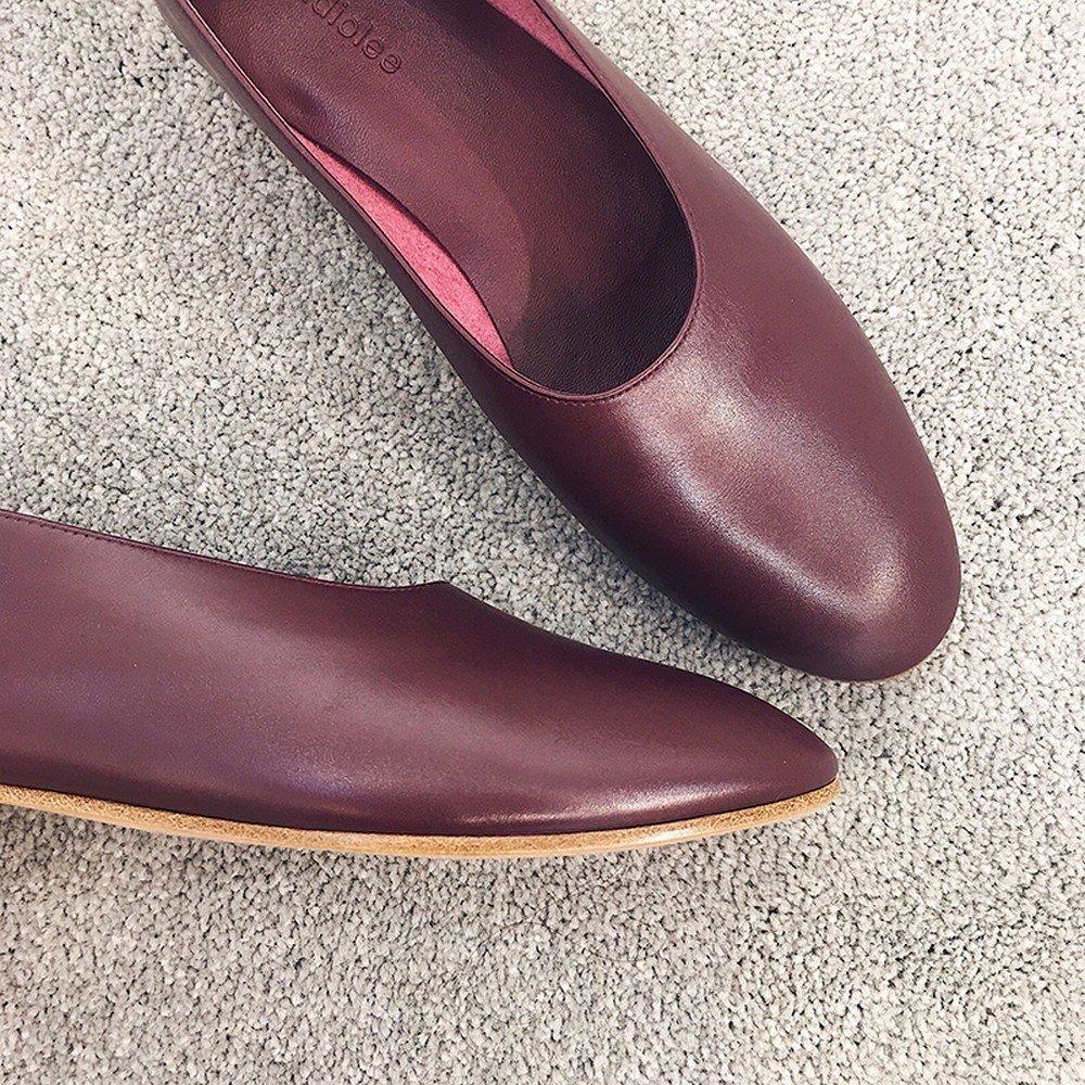 DHG Scarpe basse casual casual con scarpe a tacco basso,Vino rosso,36-