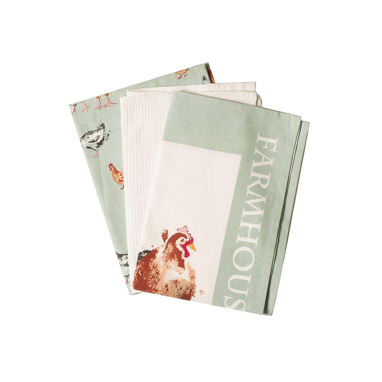Price & Kensington Farmhouse Kitchen Tea Towels, Set of 3, Multi ...