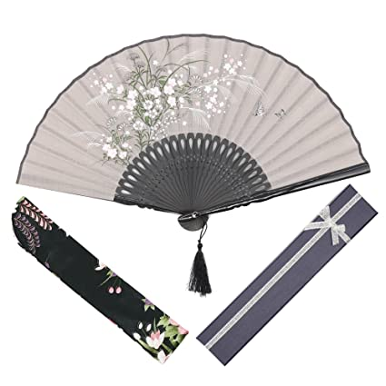 "OMyTea Grassflowers 8.27""(21cm) Folding Hand Held Fans - With a Fabric Sleeve"