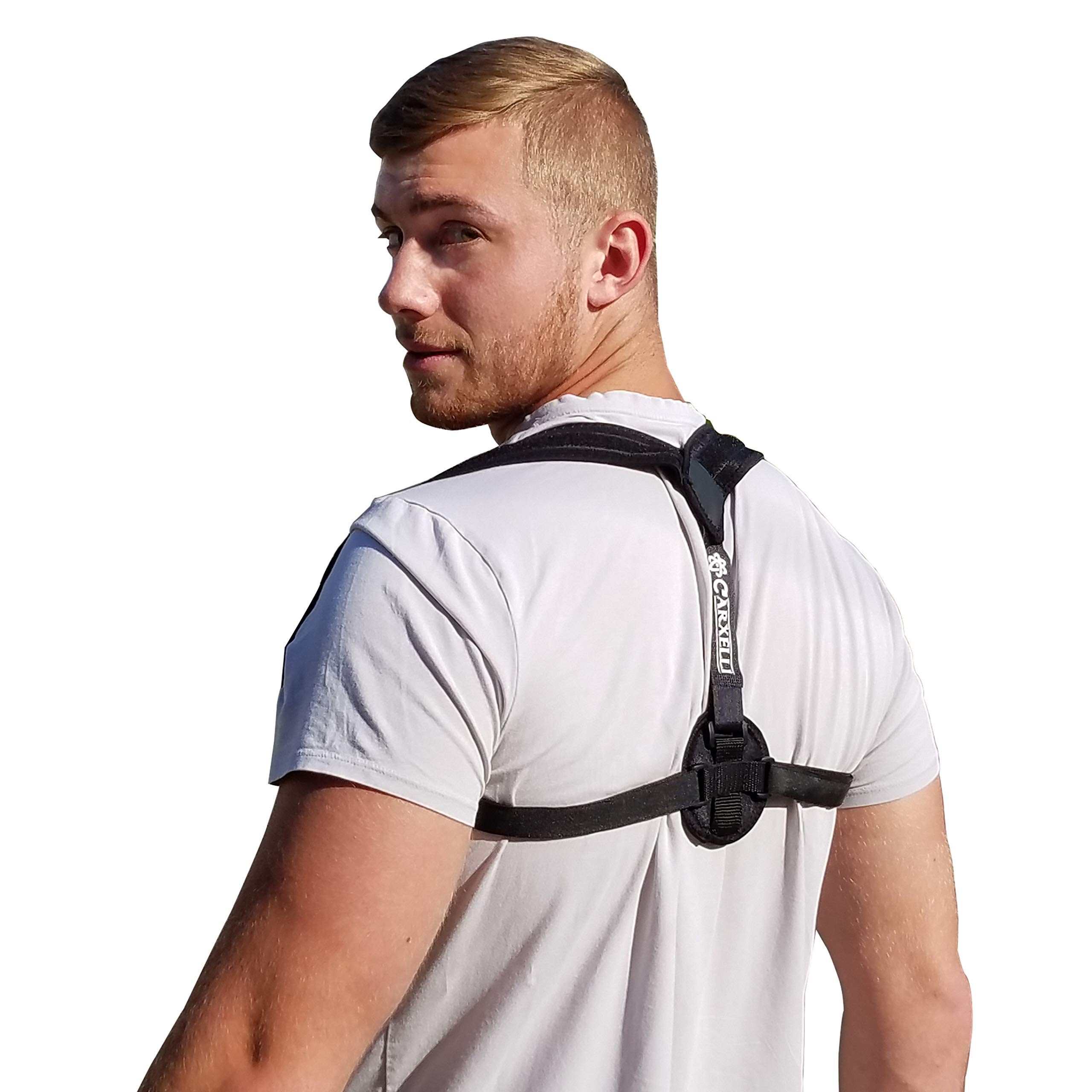 Carxelli Posture Corrector - Large/X-Large Size - for Women & Men - Adjustable Back & Shoulders Support Brace to Improve Posture - Included Extra Padding - Workout Band & Carrying Bag
