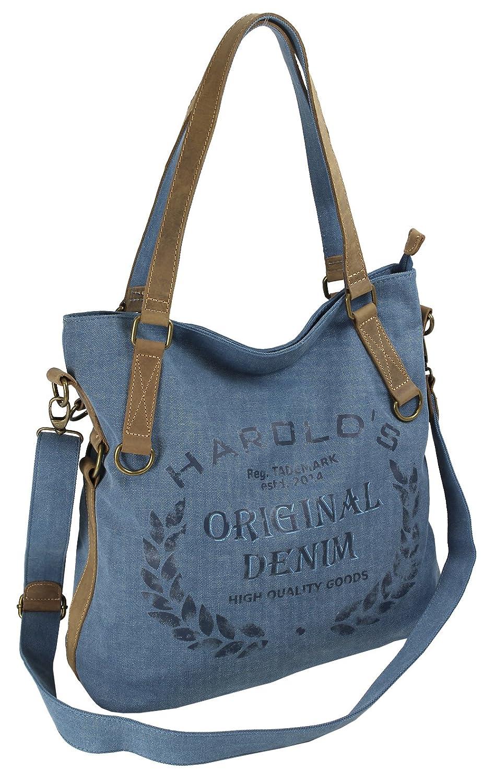 Damen Umhängetasche Segeltuch / Canvass Schultertasche für Frauen | Retro-Look Tasche mit Echtleder-Besatz und Vintage Print Design | 4 Farben (4540) (Blau)