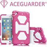 Mini iPad Case,iPad Mini 2 Case,iPad Mini 3 Case,ACEGUARDER Full Body Protective Premium Soft Silicone Cover with Adjustable Kickstand (Pink/White)