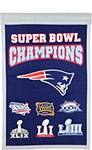 Winning Streak New England Patriots 6 Time Super Bowl Champs Banner 14x22, Navy