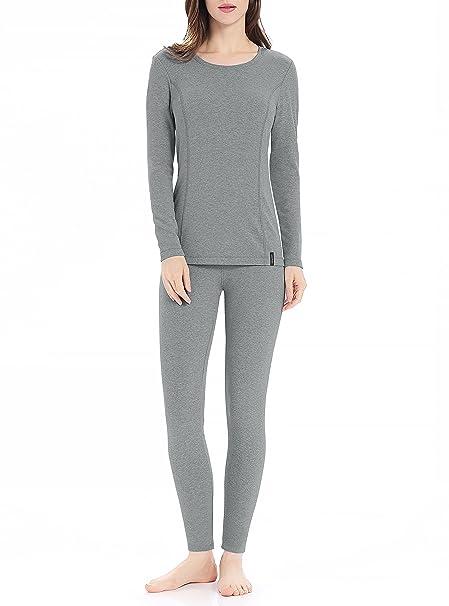 Genuwin Ropa Térmica para Mujer - Camiseta Manga Larga & Pantalones Largos - Ropa Interior Funcional