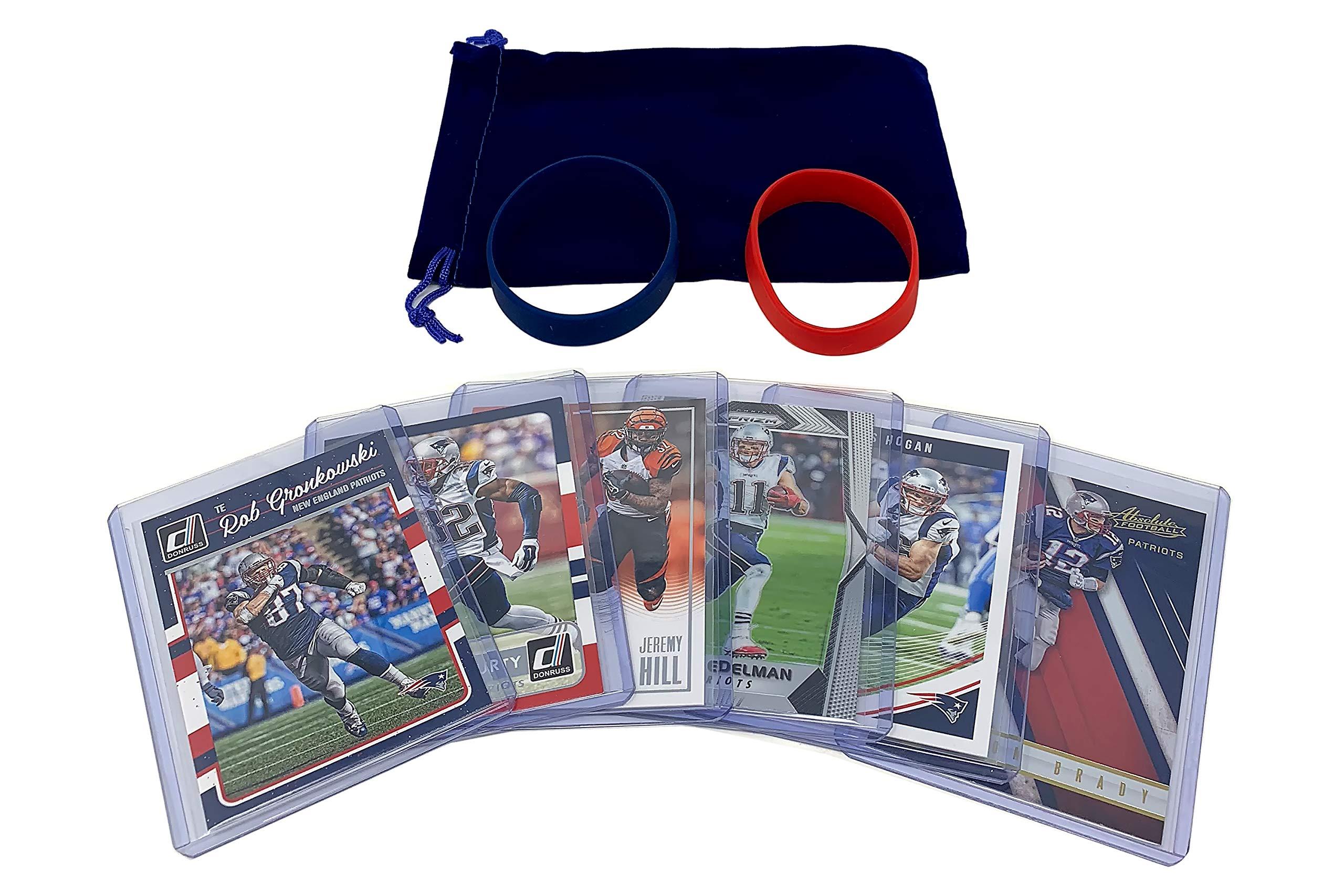 New England Patriots Cards: Tom Brady, Rob Gronkowski, Chris Hogan, Devin McCourty, Jeremy Hill, Julian Edelman ASSORTED Trading Cards and Wristbands Bundle