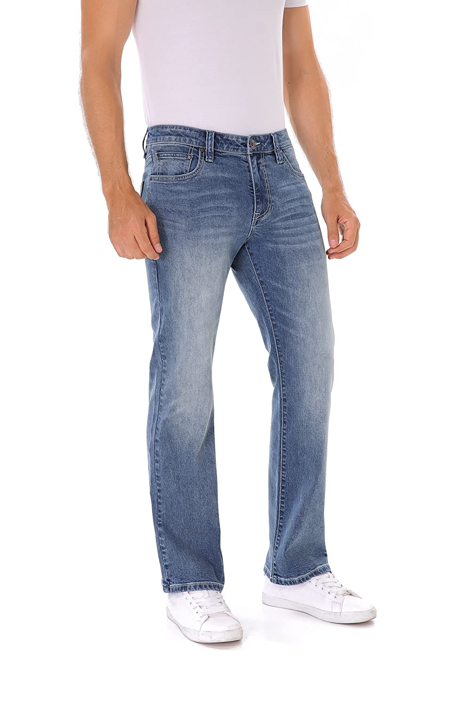 Indigo Alpha Mens Stretch Extensible Boot Cut Fit Distressed Faded Denim Jeans