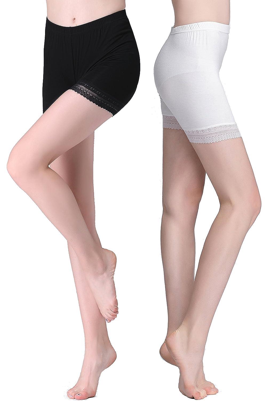 Vinconie Women Lace Trim Under Dress Shorts Safety Pants Gym Yoga Leggings PANT_503_L_BLACK_2PACK