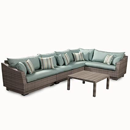 RST Brands 6 Piece Cannes Modular Sectional Sofa Patio Furniture Set, Bliss  Blue