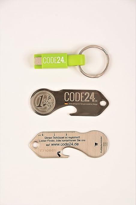 grün,orange,schwarz aus Metall Einkaufswagenchip 3er Set mit Schlüsselschutz
