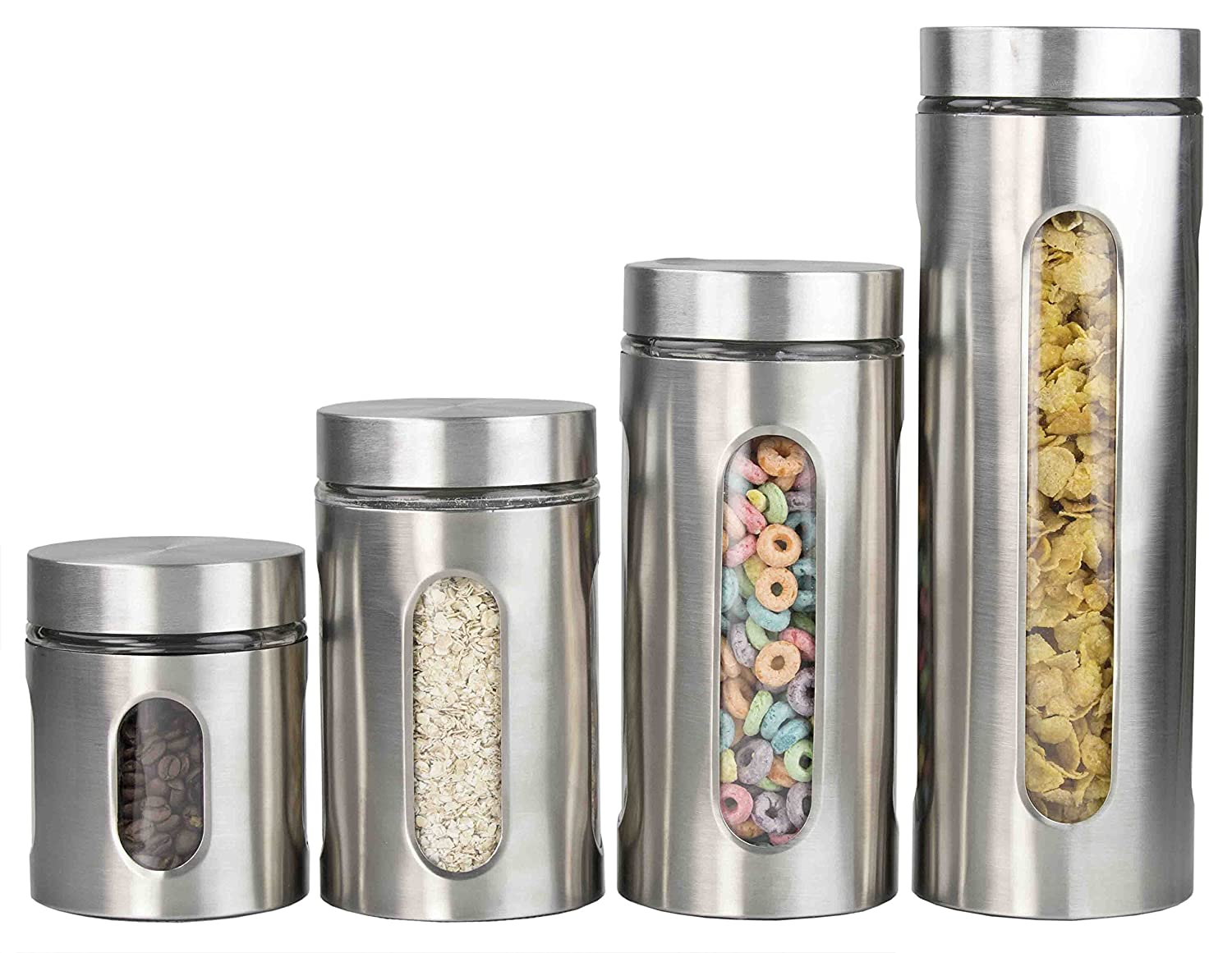 Home Basics 4-Piece Glass Canister Cylinder Set with Clear Window Red